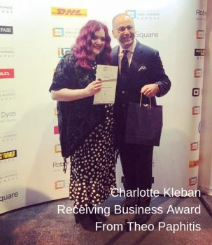 Prestibe Business Coaching Client Charlotte Kleban Recieving Business Award From Theo Paphitis